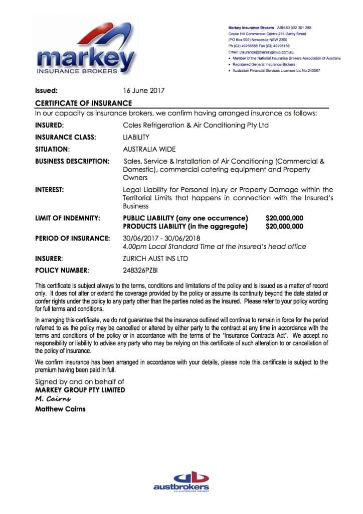 Public Liability Insurance Certificate of Currency 2017-2018