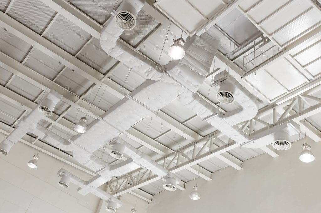 Industrial ducted air conditioner in a high ceiling