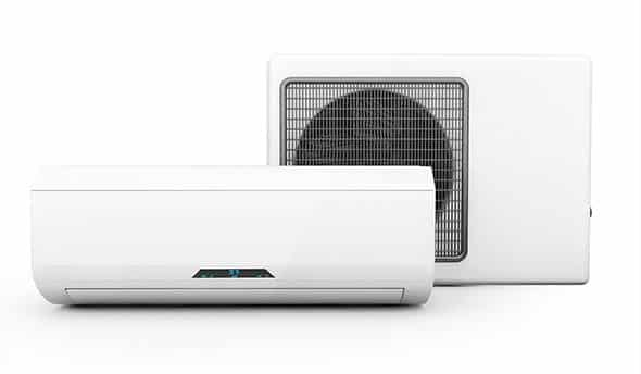 Split system air conditioners on white background
