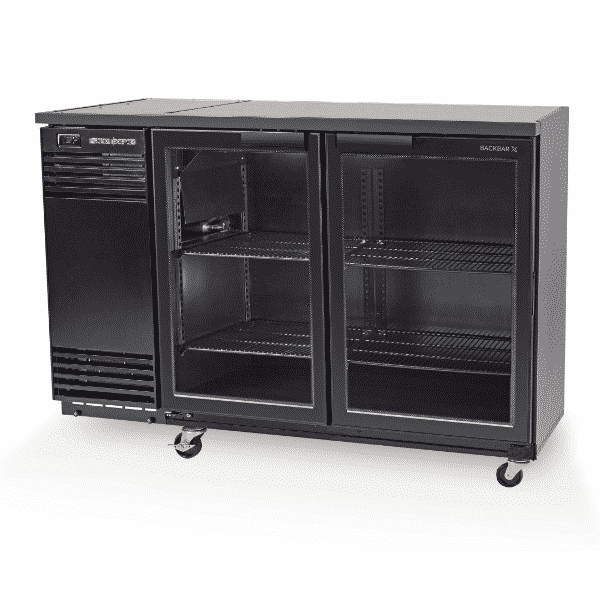 BB380X-2SW Skope Black BackBar with 2 Glass Swing Doors